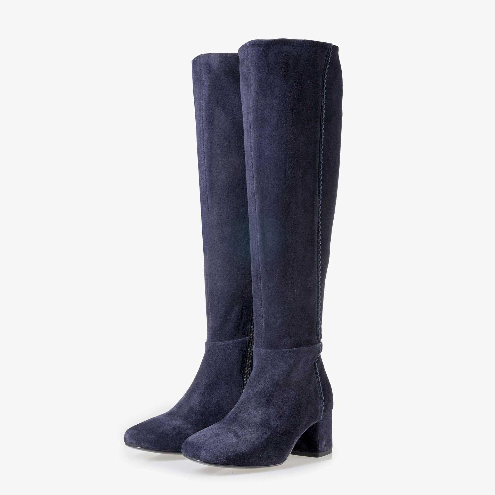 Floris van Bommel blaue Damen Wildleder Stiefel