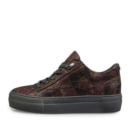 Leder-Sneaker mit schwarzer Cupsohle