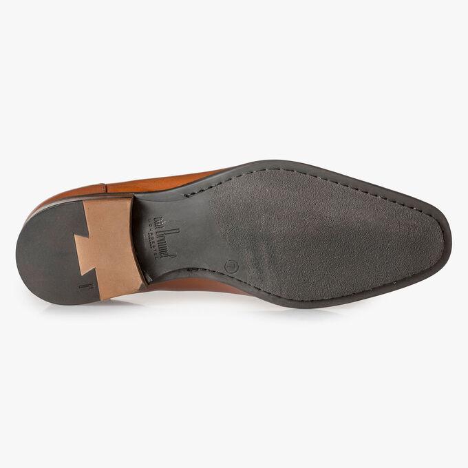 Dark cognac-coloured calf leather loafer