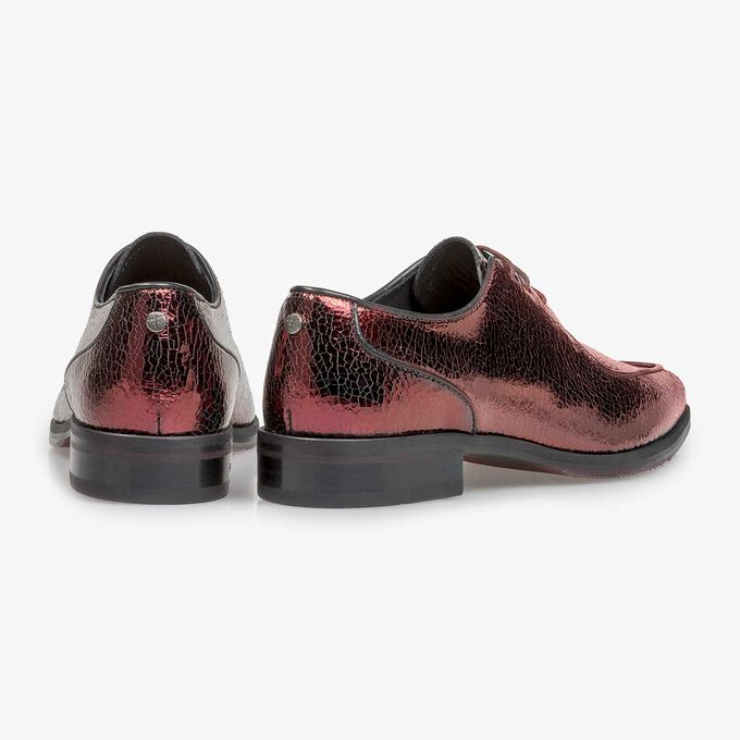 Red leather lace shoe with metallic print
