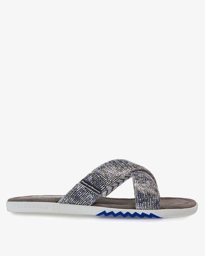 Slipper mit Print schwarz-weiß