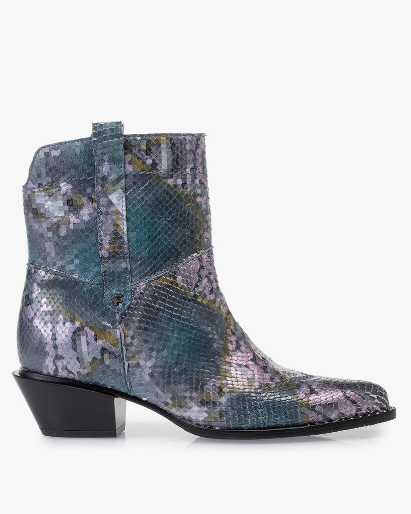 Stiefel Leder mit Print blau