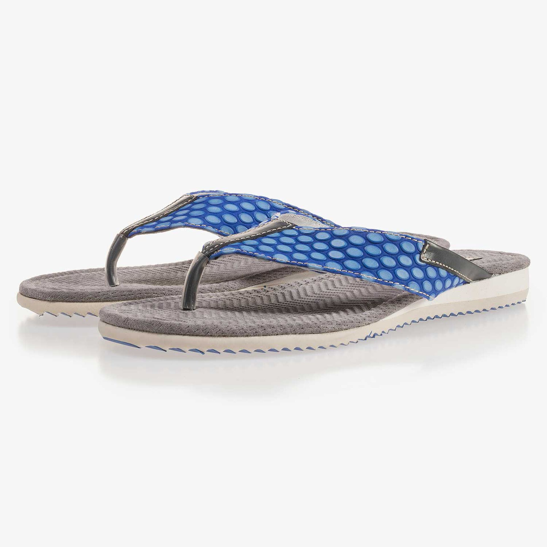 Cobalt clue, printed leather thong slipper