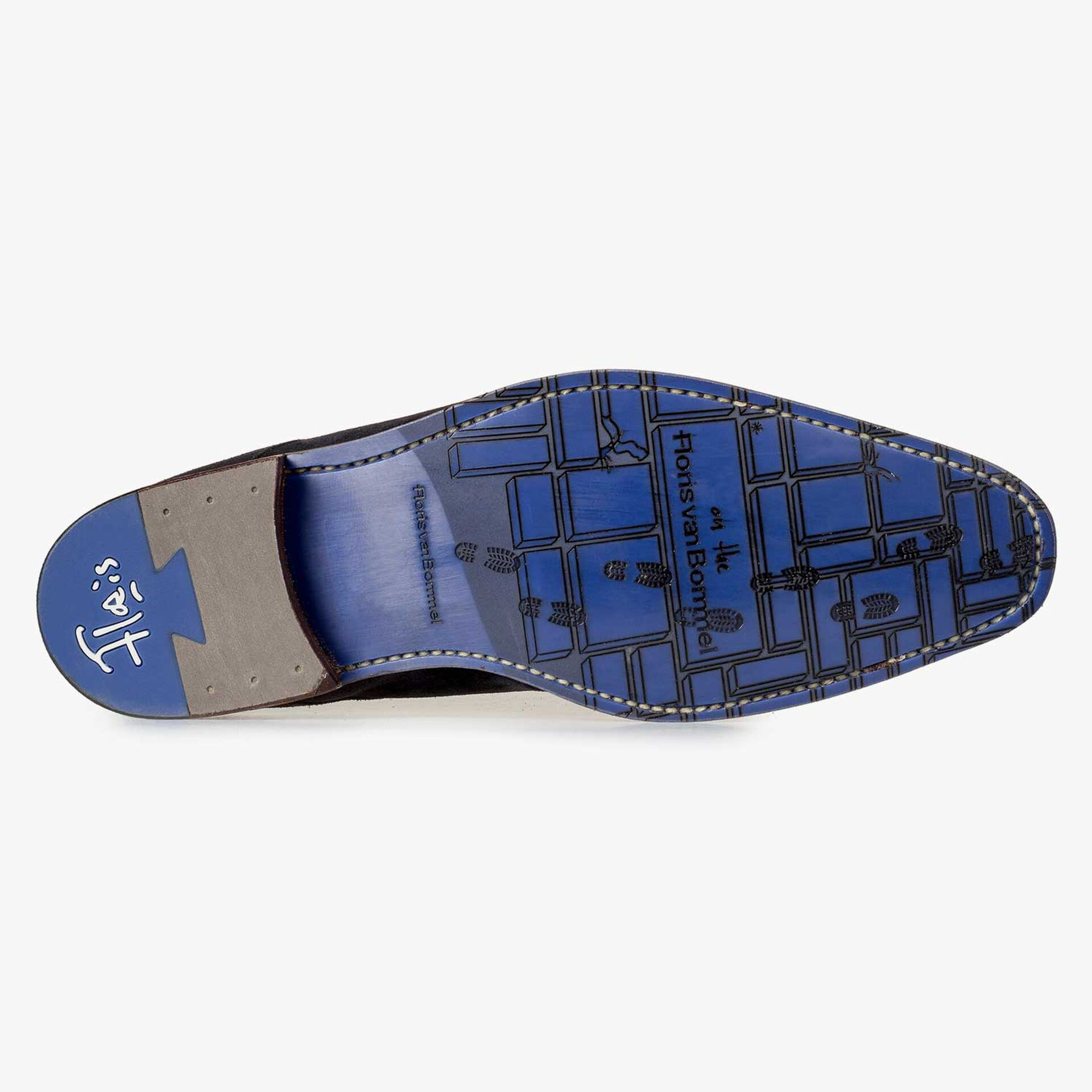 Dark blue printed suede leather lace shoe