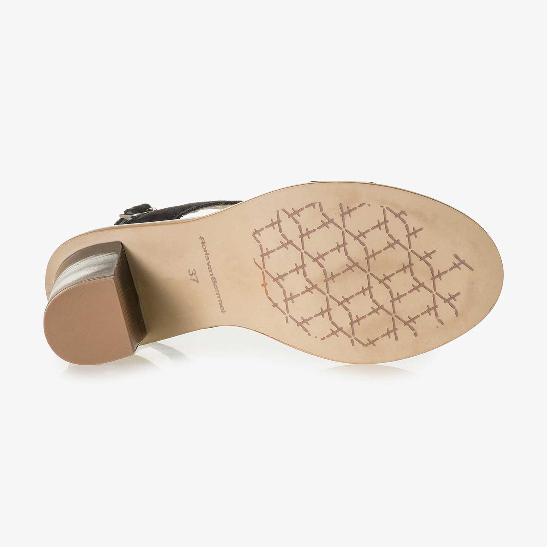 Schwarze Nubukleder-Sandale mit Keilabsatz