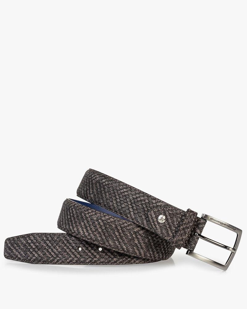 Suede leather belt grey print