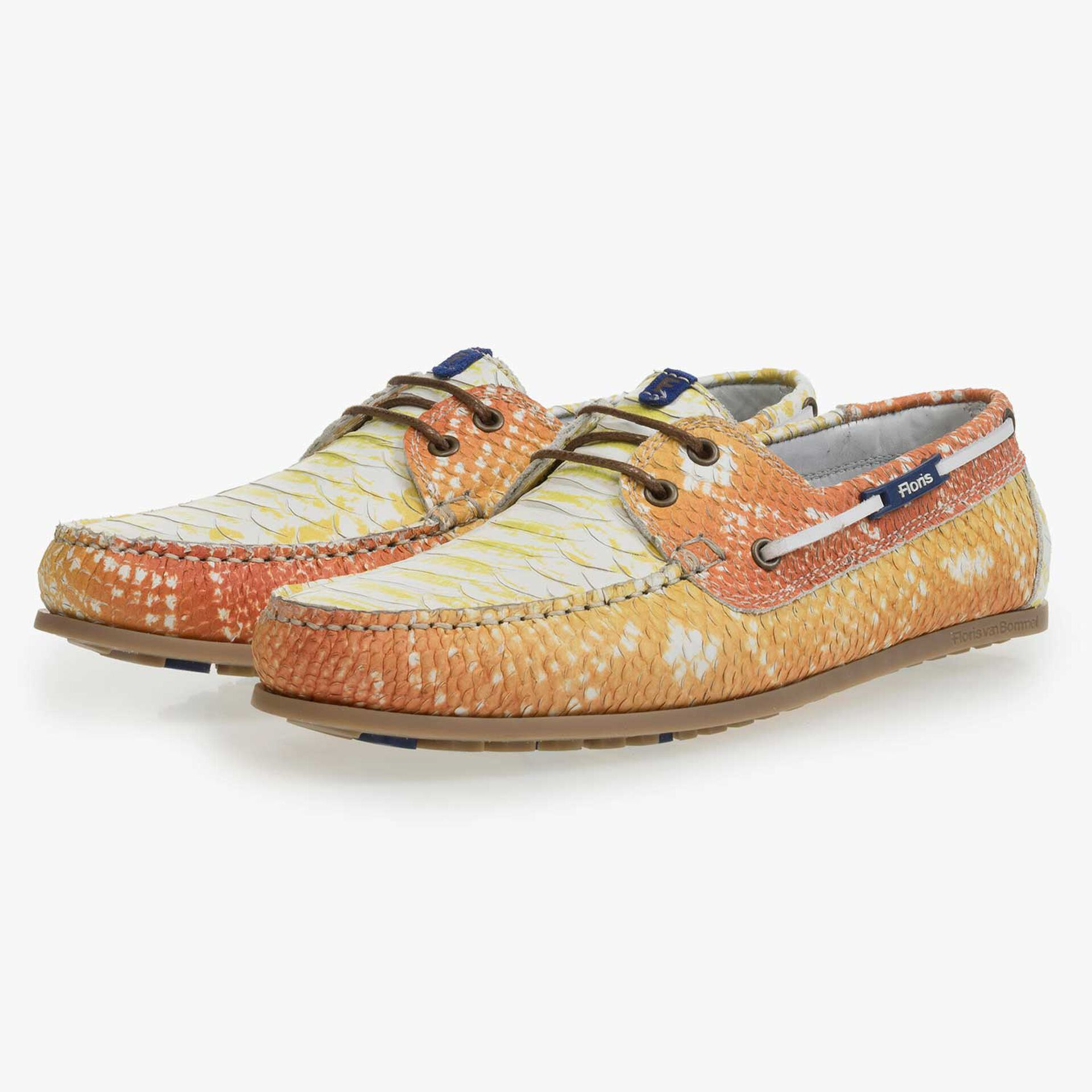 Yellow leather boat shoe with snake print