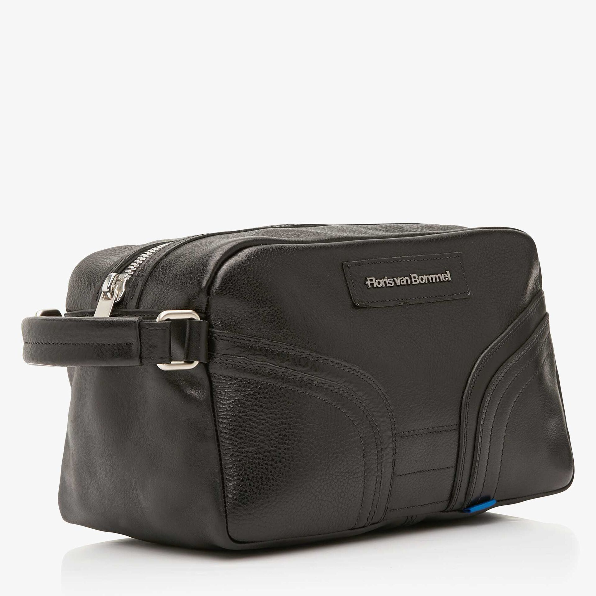 Floris van Bommel black leather toilet bag
