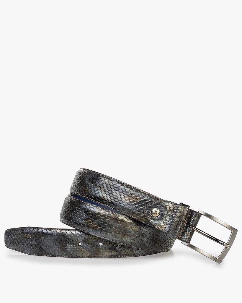 Ledergürtel metallic grau