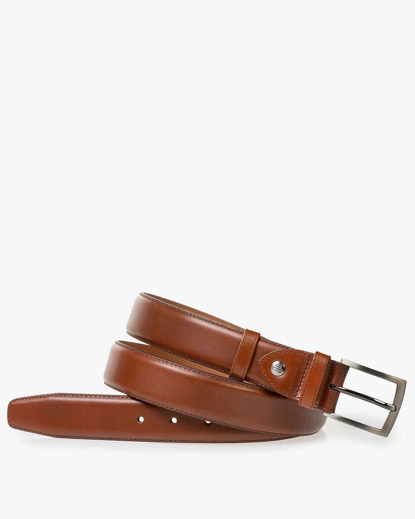 Dark cognac-coloured calf leather belt