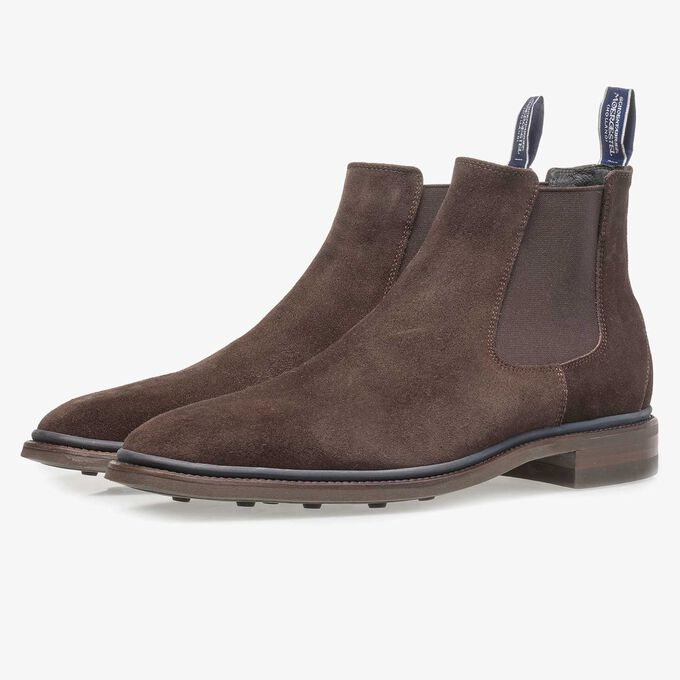 Dark brown suede Chelsea boot