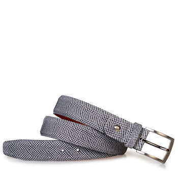 Belt printed leather off-white