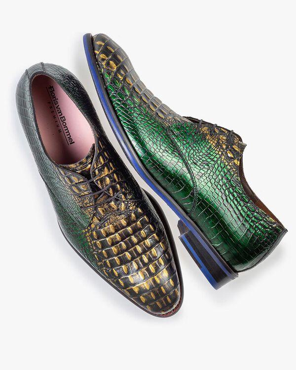 Schnürschuh grünes Krokoleder