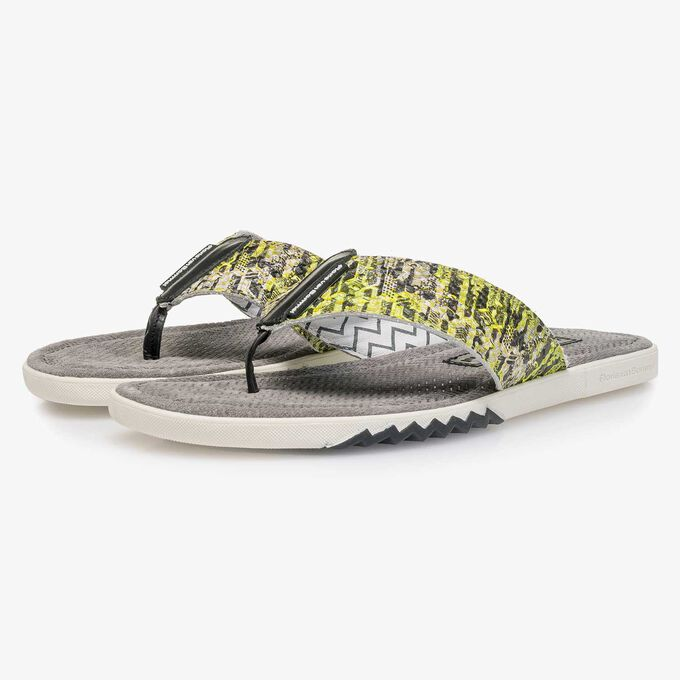 Yellow snake print leather thong slipper