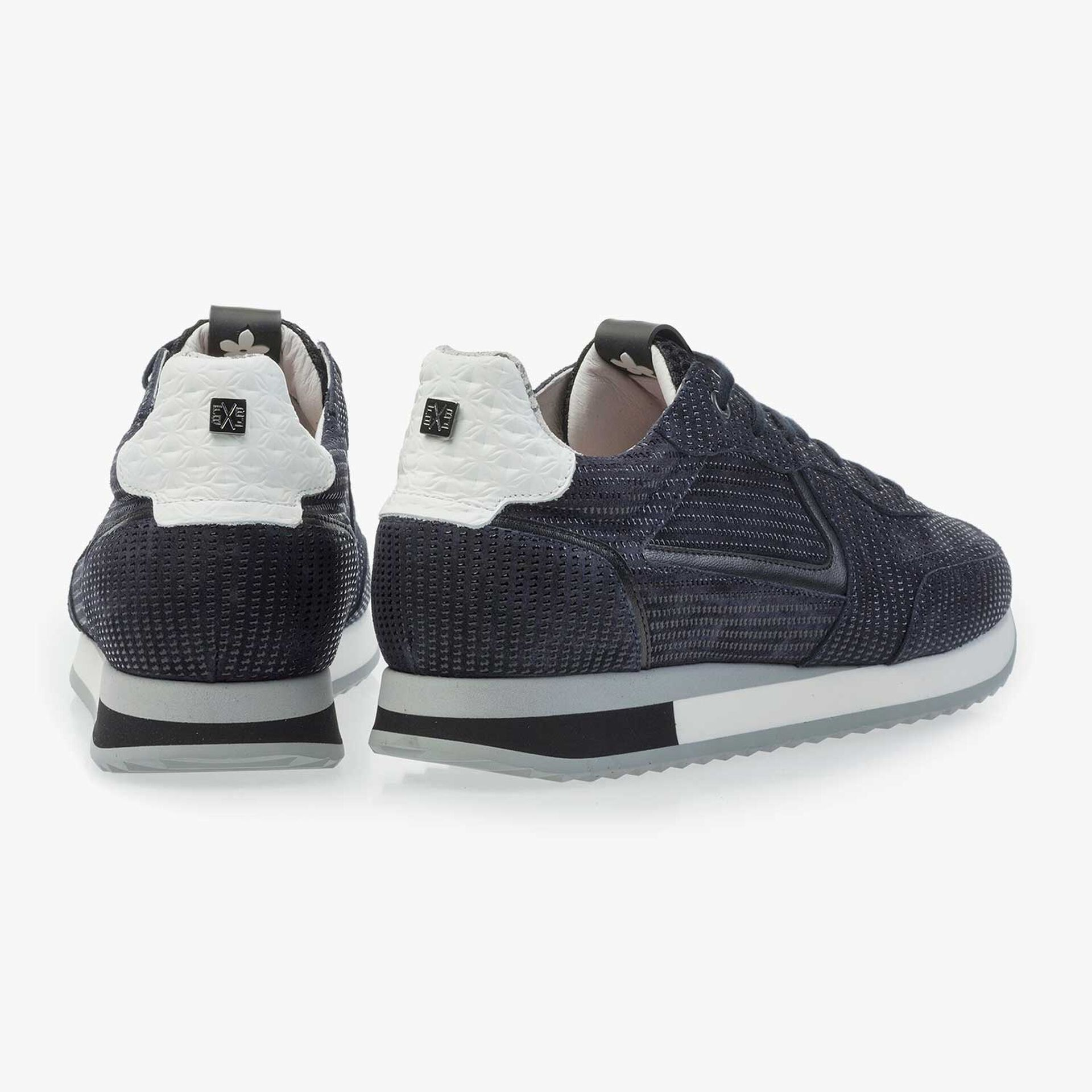 Dark blue calf's suede leather sneaker with printed motif