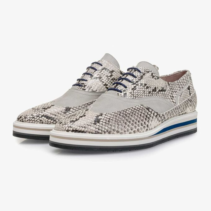 White snake print leather lace shoe