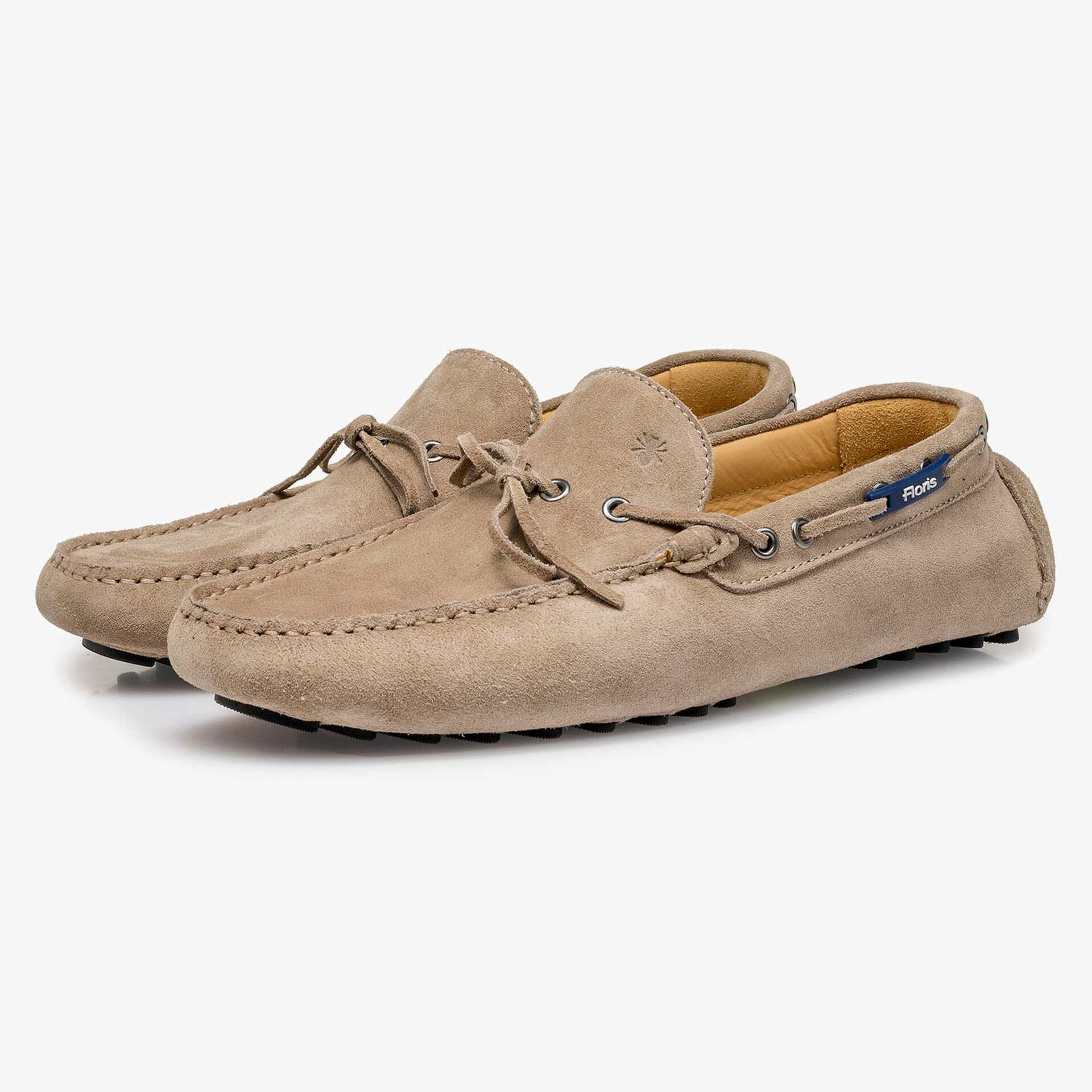 Taupe-coloured calf suede leather moccasin