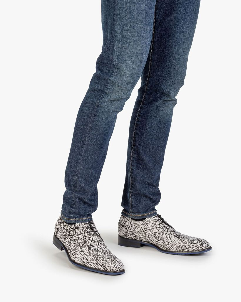 Schnürschuh Leder mit Print schwarz-weiß