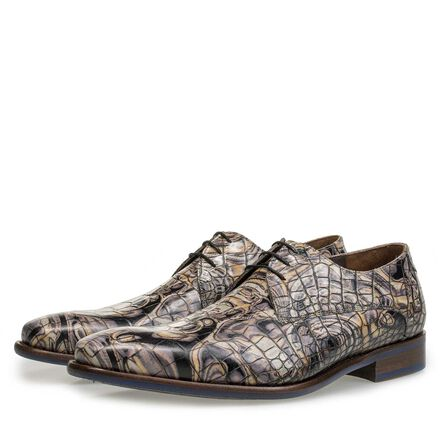 Premium Leder Schnürschuh mit Krokoprint