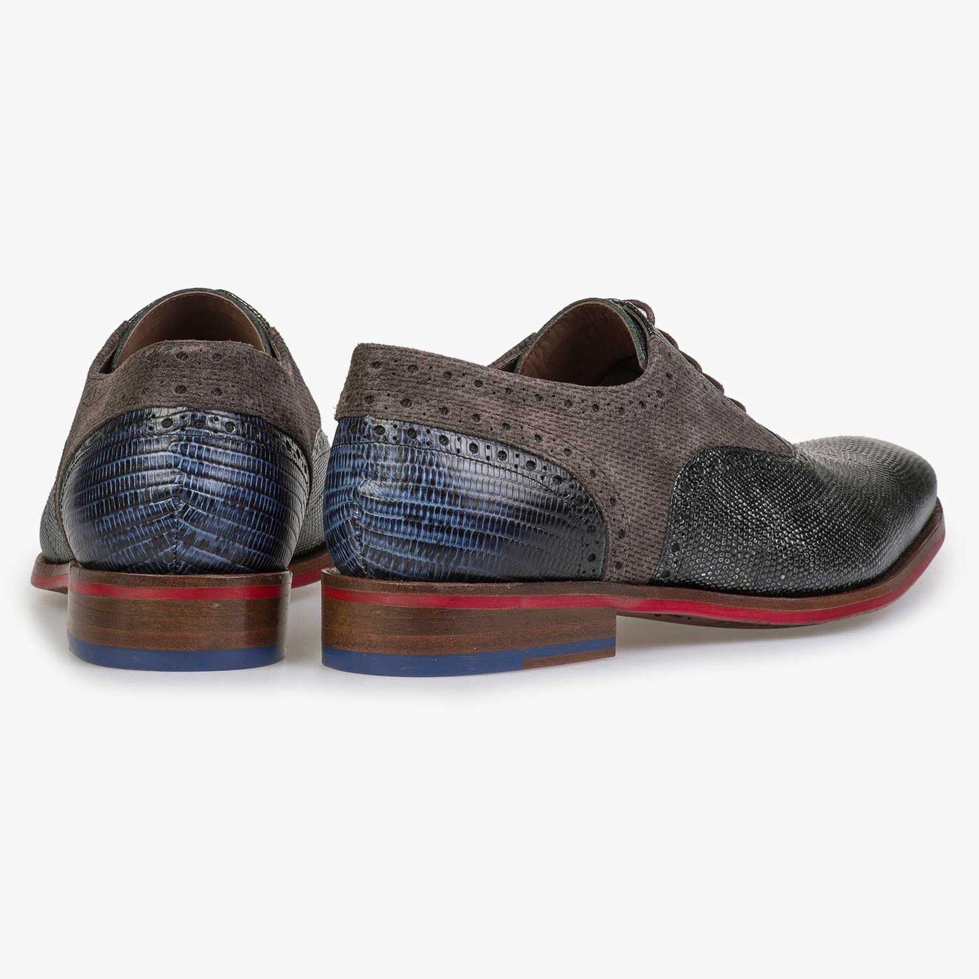 Grey Premium calf leather lace shoe