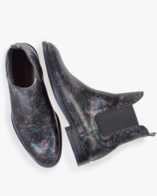 Chelsea Boot Krokoprint blau