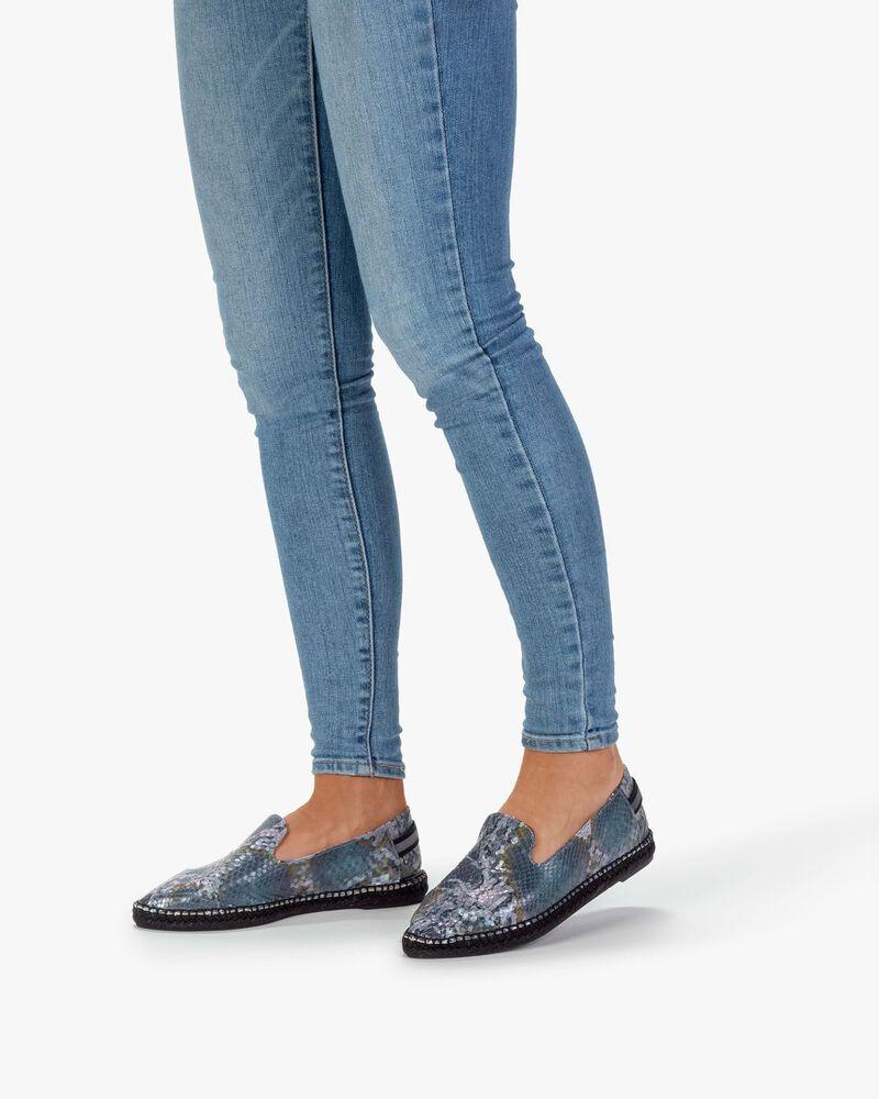 Espadrille Leder mit Print blau
