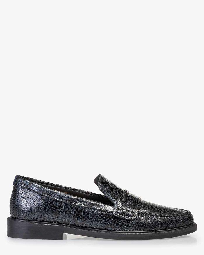 Loafer metallic print blue