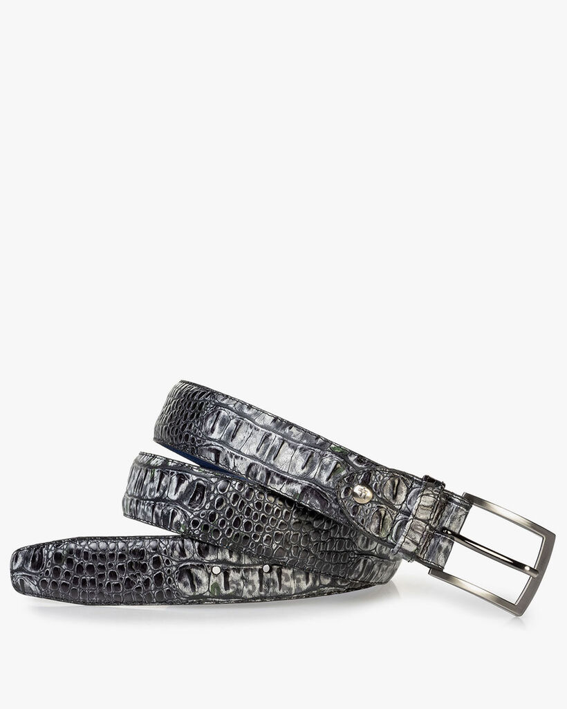 Leather belt croco print grey
