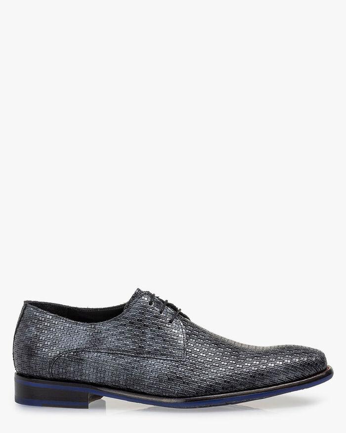 Lace shoe metallic print dark grey