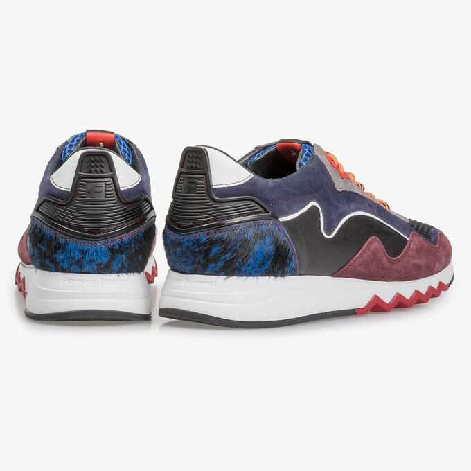 Red and blue suede leather sneaker