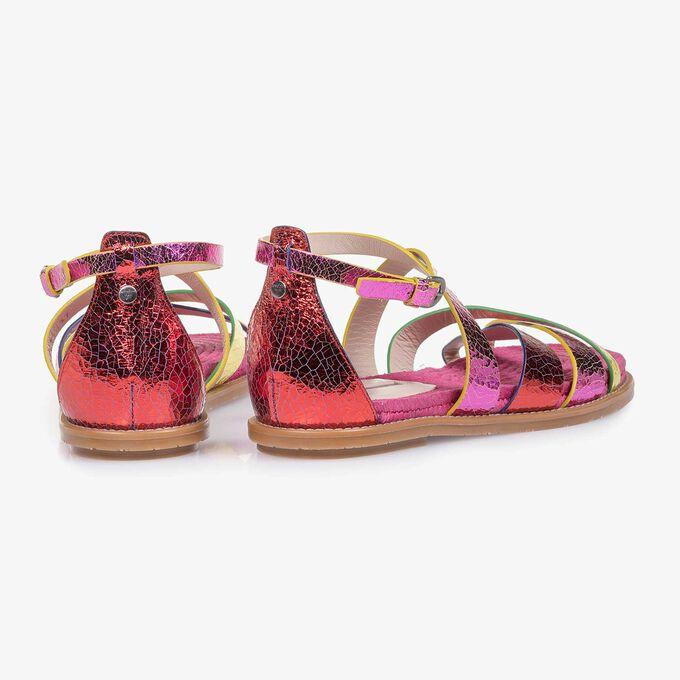 Metallic Leder-Sandale mit Craquelé-Effekt