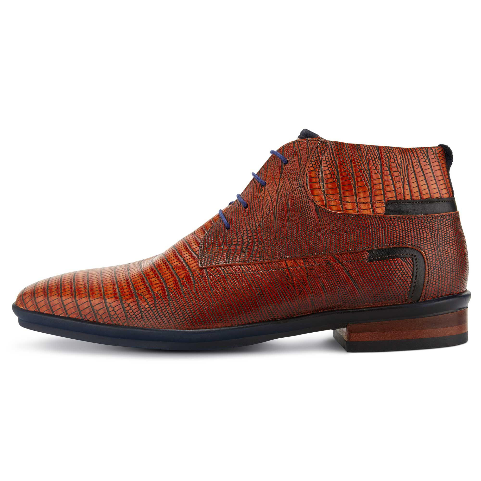 Cognac lace boot with lizard print 1087900 Floris van Bommel