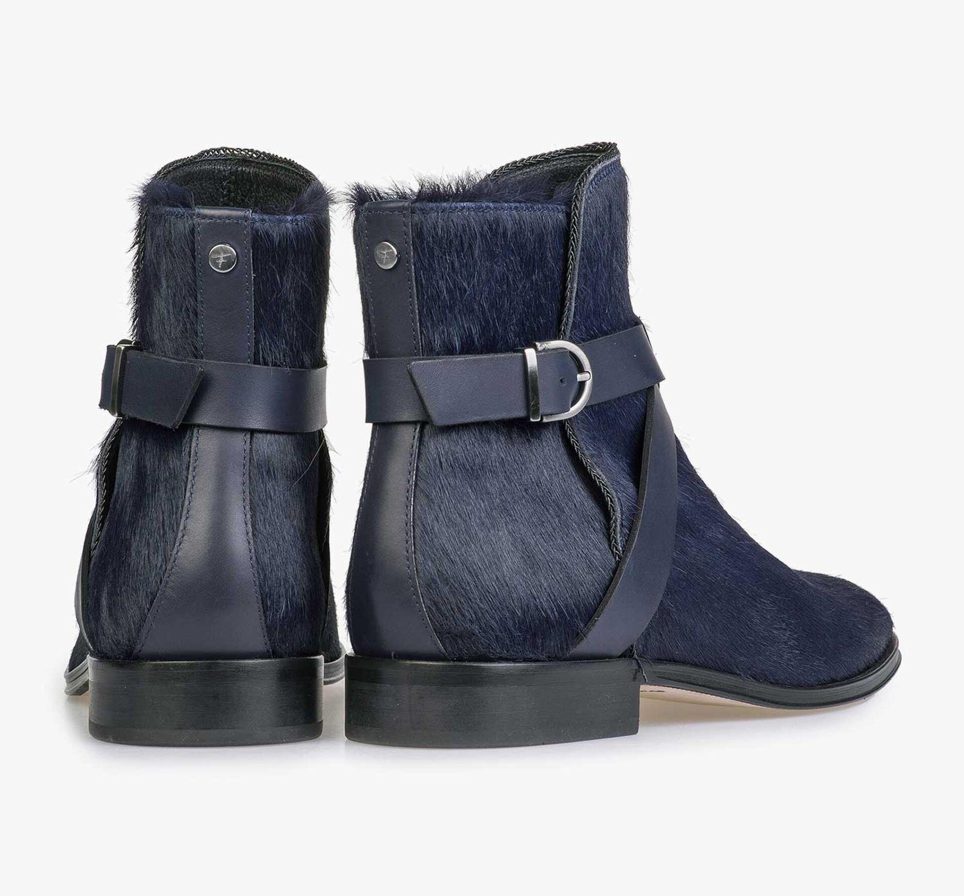 Blauer Ponyhaar Chelsea Boot