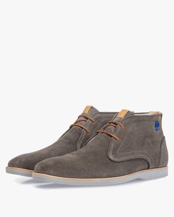 Boot suede leather dark grey