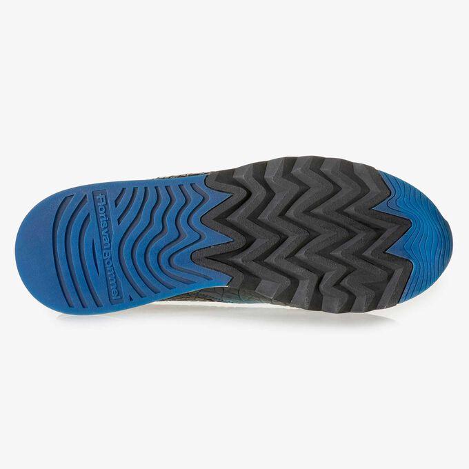 Mehrfarbiger Kalbsleder-Sneaker mit Krokoprint