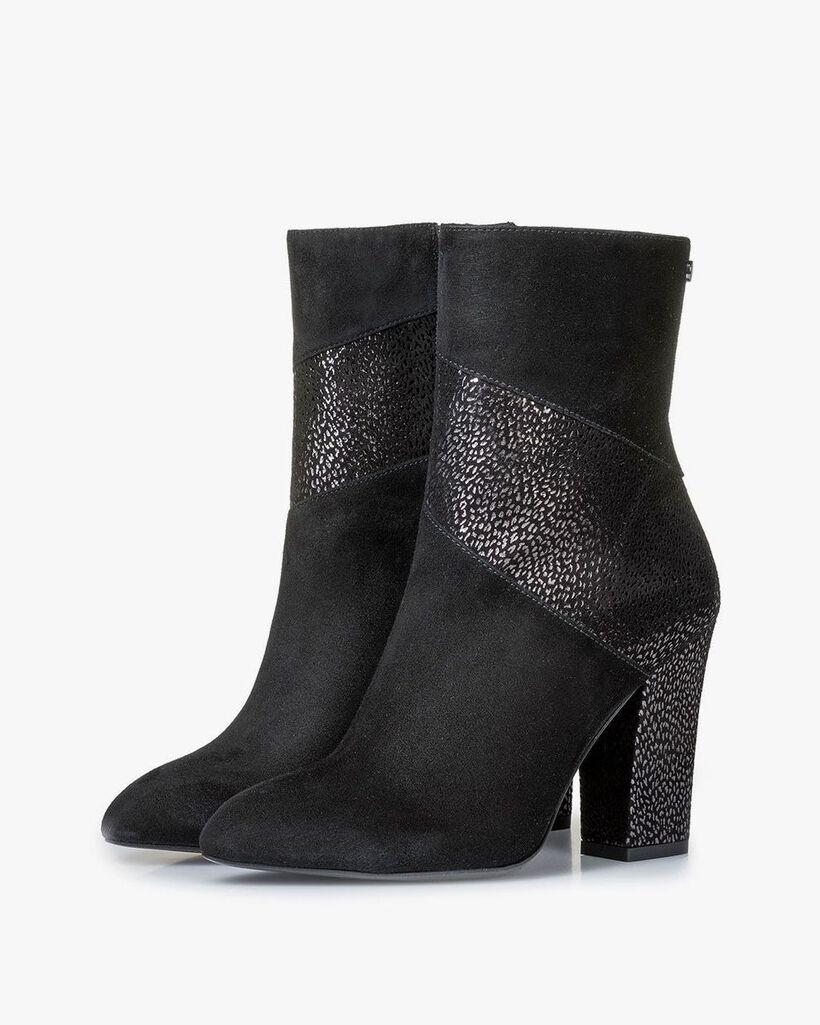 Schwarze Stiefelette mit Metallic-print