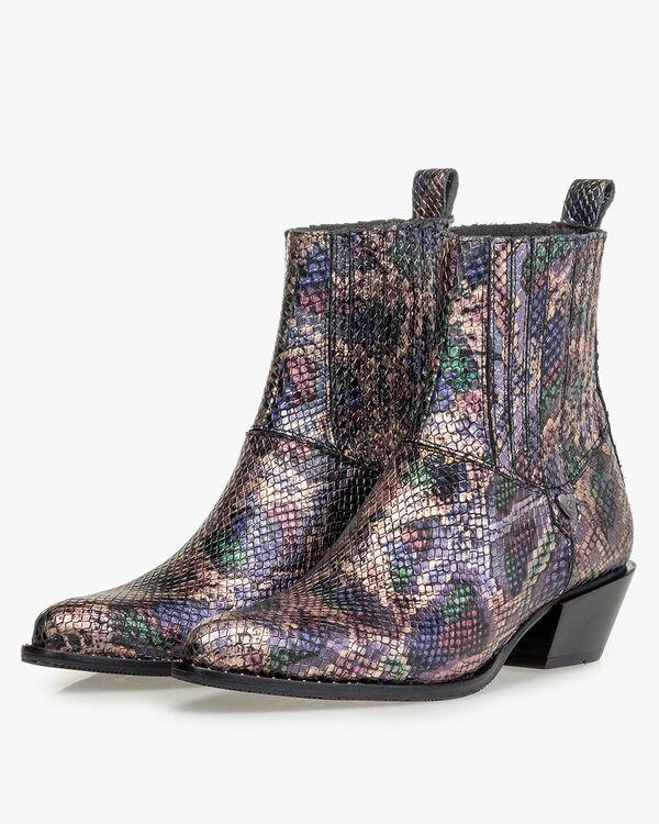 Chelsea Boot Metallic-Print rosa