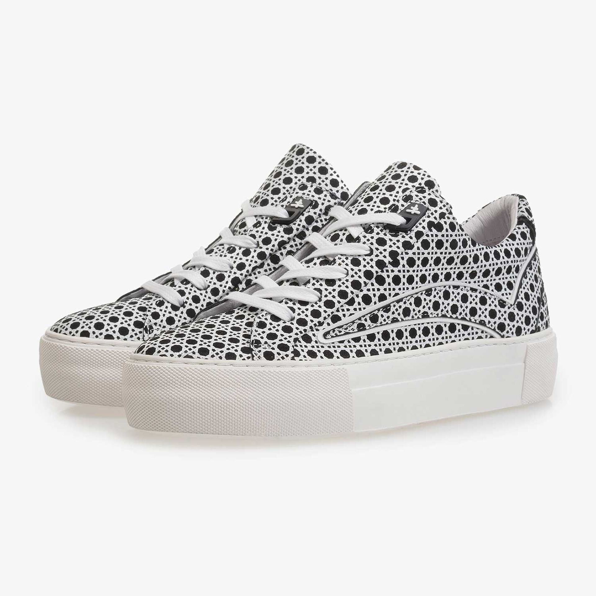 Black-and-white suede leather sneaker with print