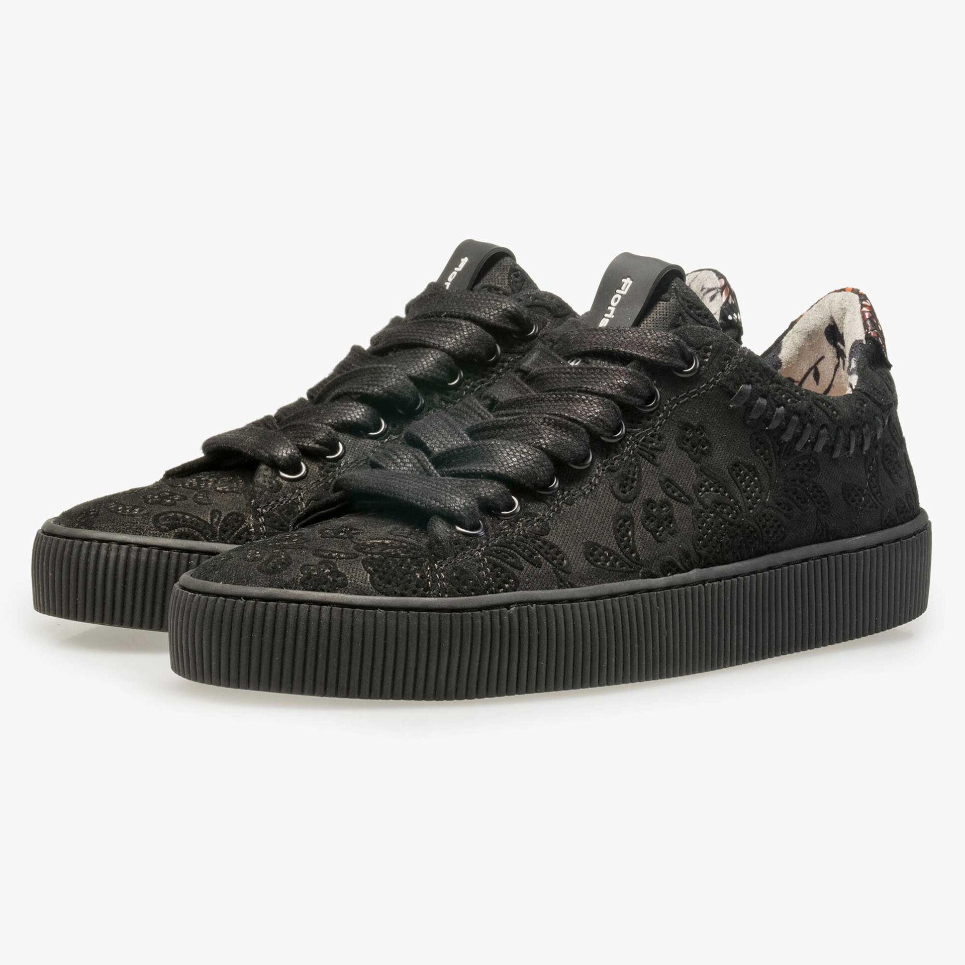 Floris van Bommel black suede leather sneaker