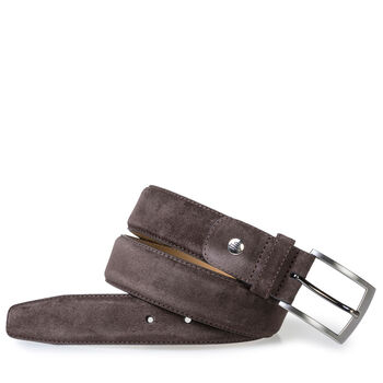 Belt suede leather dark brown