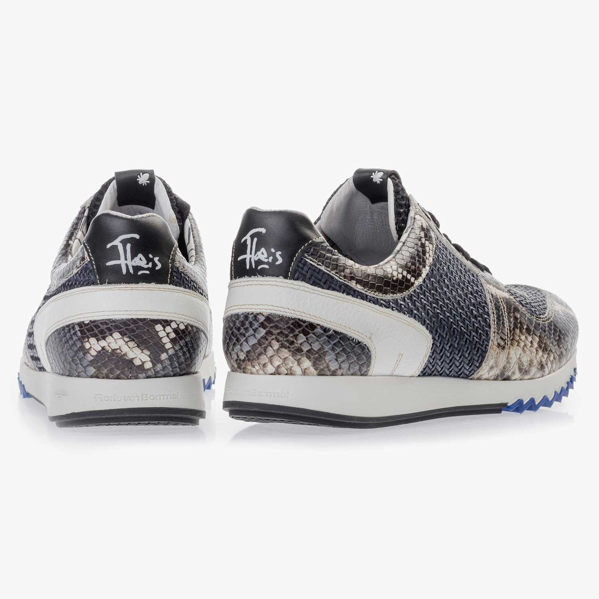 Grey blue leather sneaker finished with a snake print