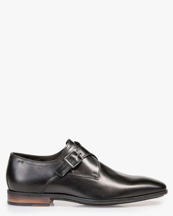 Black calf leather monk