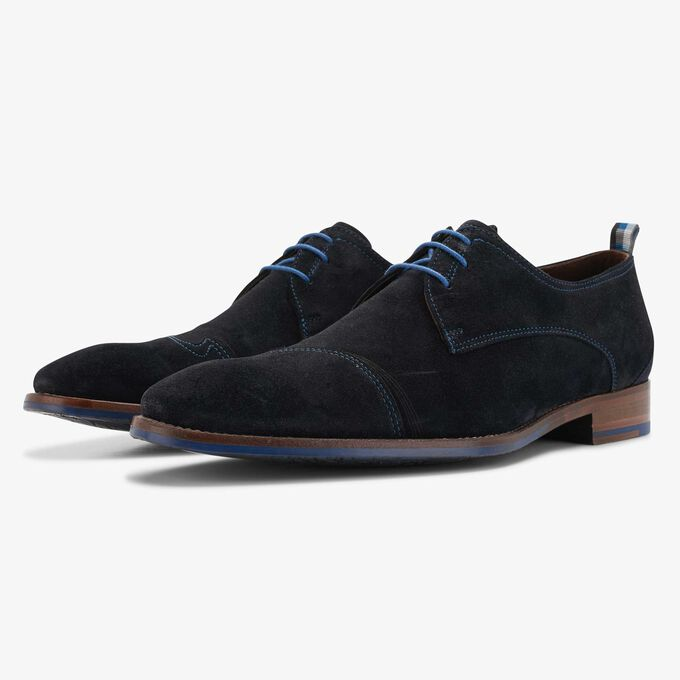 Blue suede lace shoe