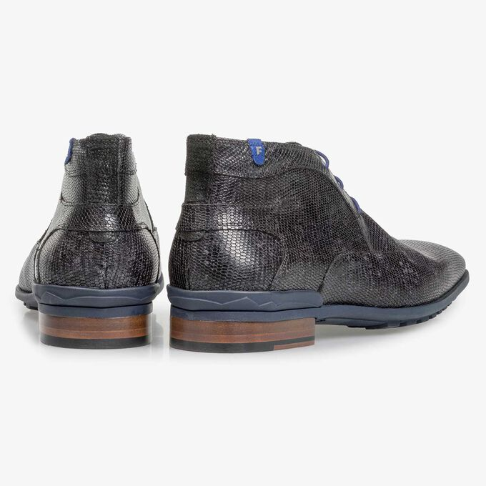 Black leather lace boot with lizard print