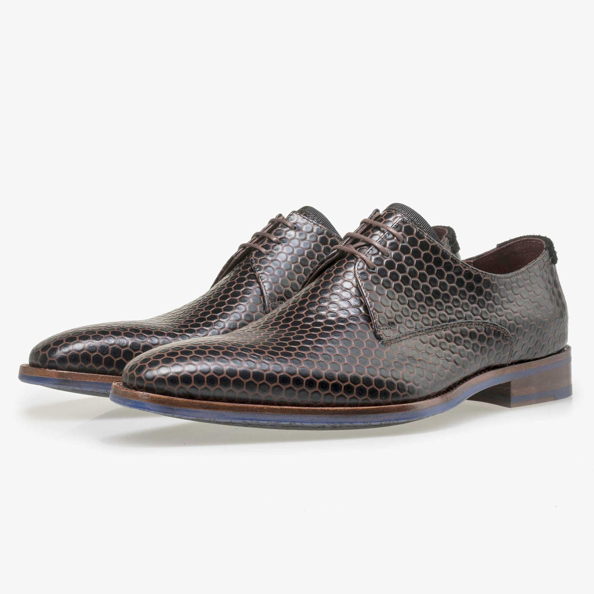 Floris van Bommel black calf's leather lace shoe finished with brown hexagon print