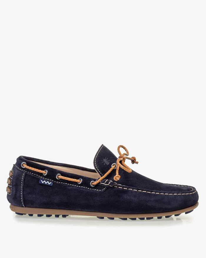Moccasin suede leather dark blue
