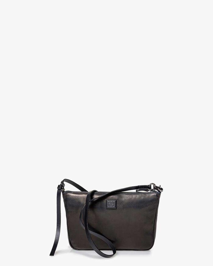 Crossbody-Tasche Leder schwarz