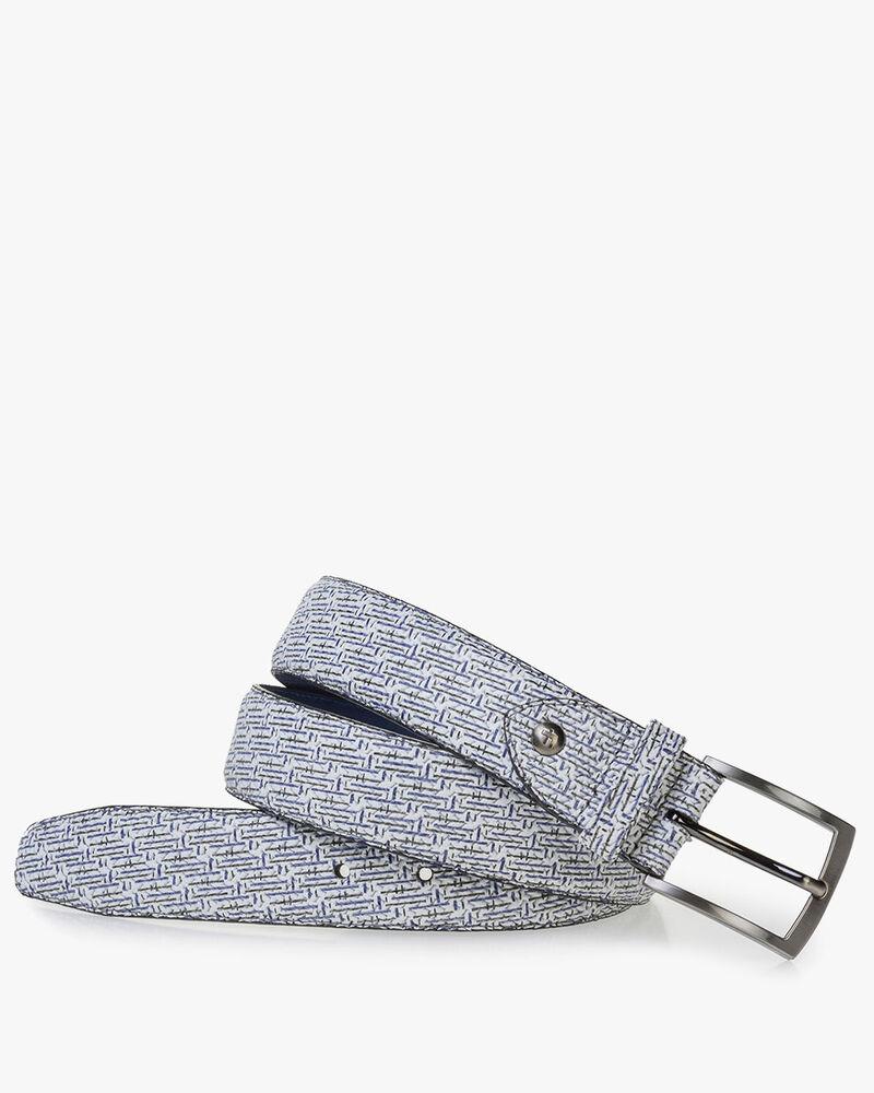 Weißer Ledergürtel mit blauem Print