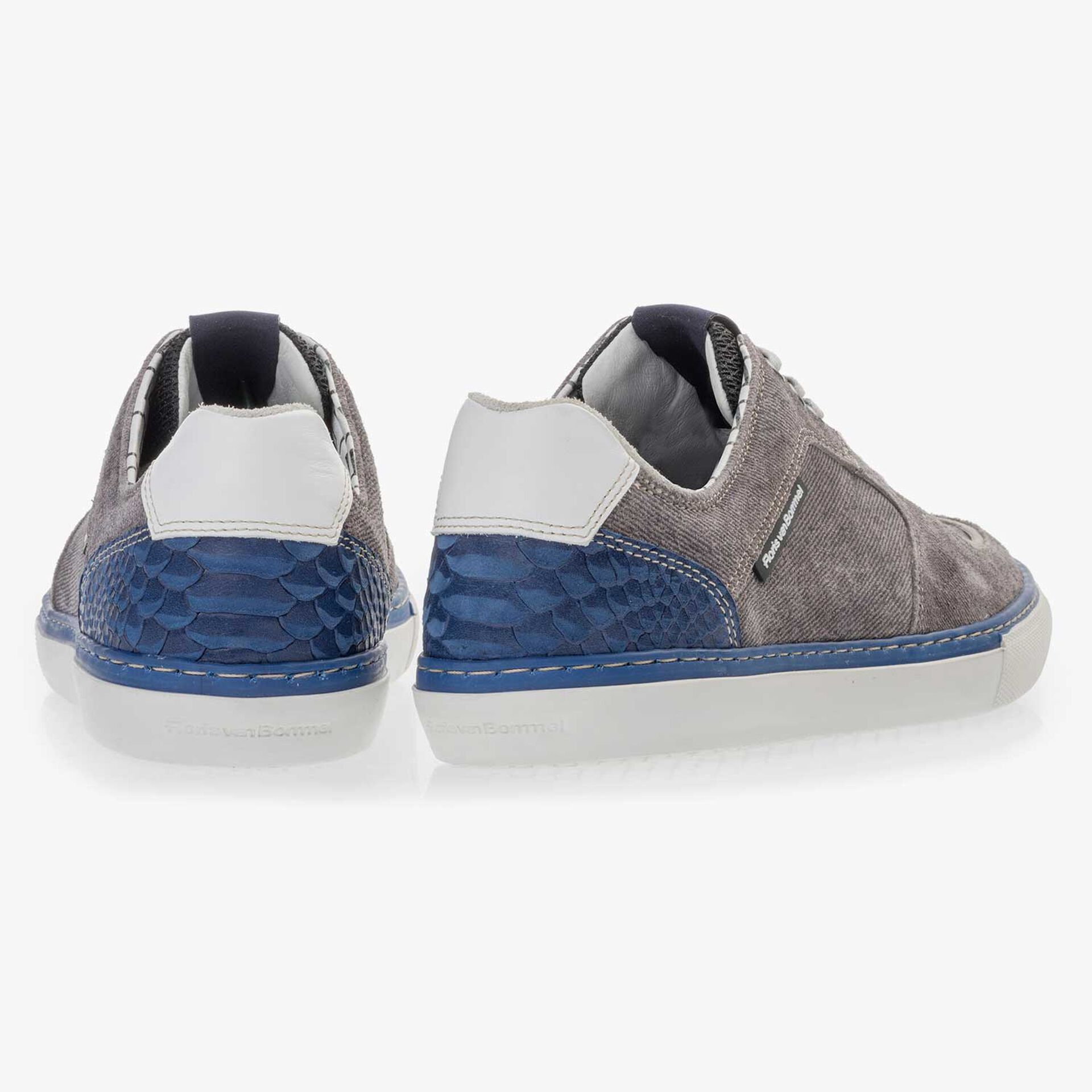 Grey patterned suede leather sneaker