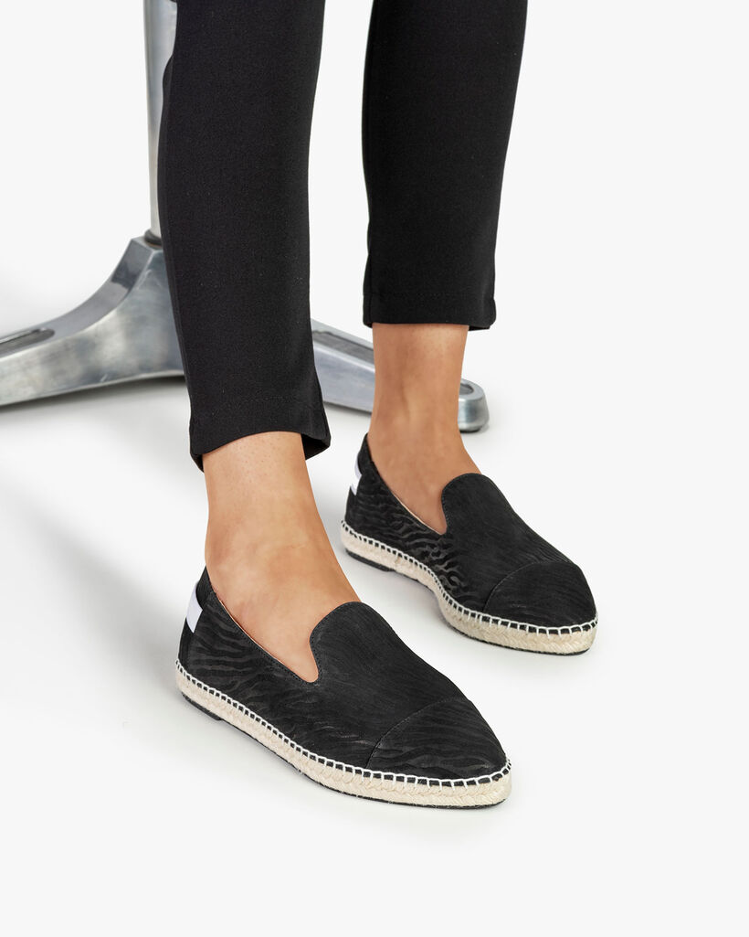 Espadrille Leder mit Print schwarz